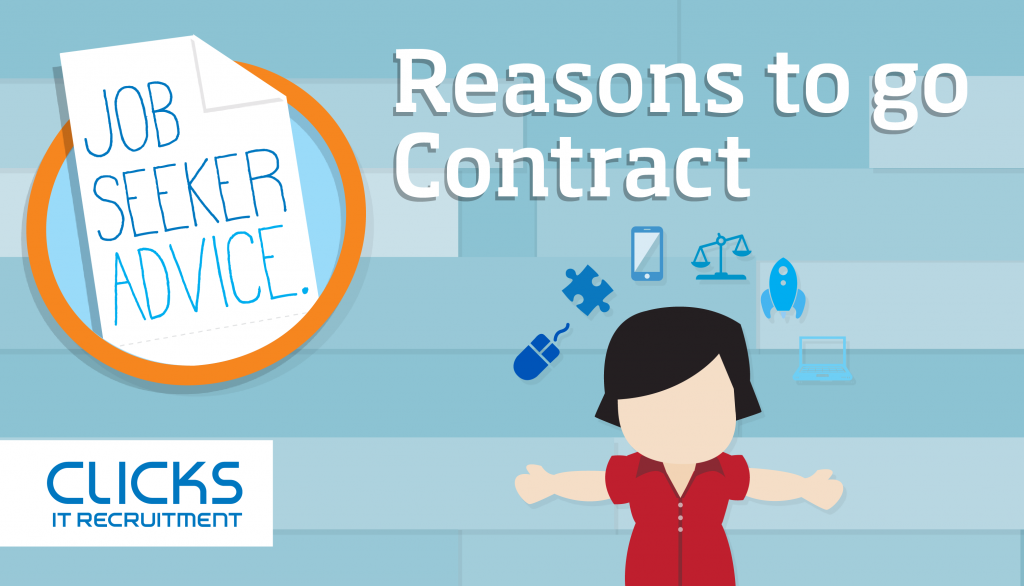 Reasons to go contract - Job seeker advice graphic showing person surrounded by small job perk icons with Clicks IT Recruitment (logo)